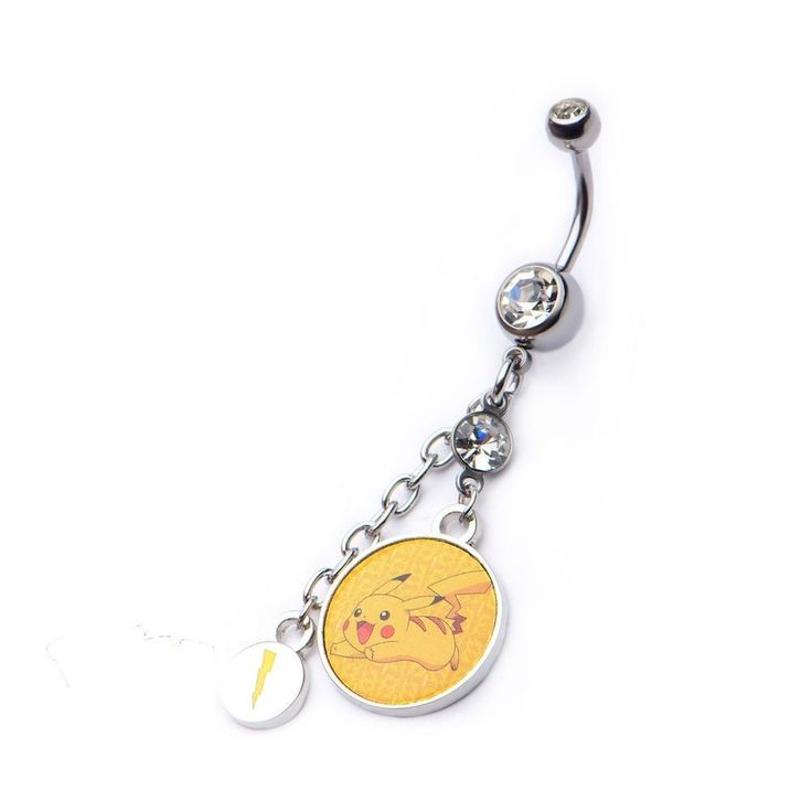 Pokemon Pikachu Dangle W Lightning Bolt Charm Navel Ring With Gem SS #SO