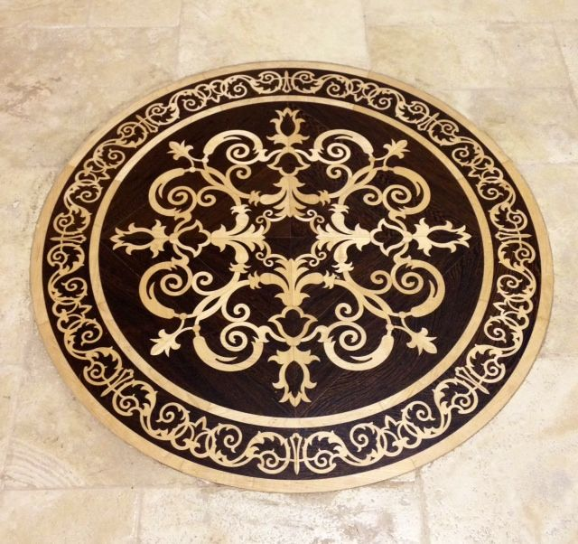 Wood and travertine floors with medallian google search for Wood floor medallions inlay designs