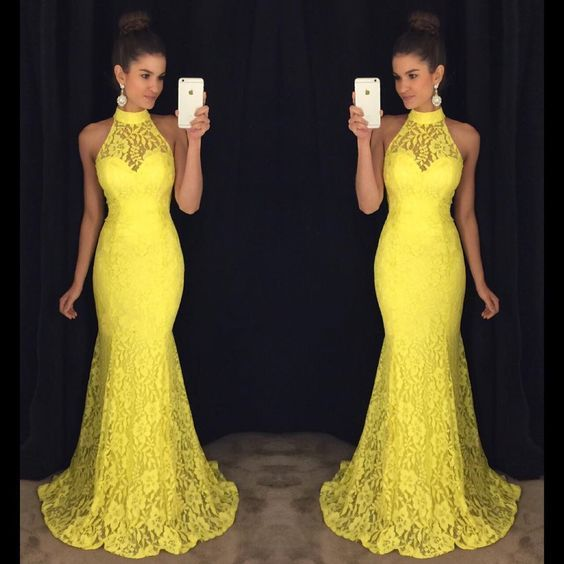 Yellow Prom Dress,Mermaid Prom Dress,Lace Prom Dress,Fashion Prom