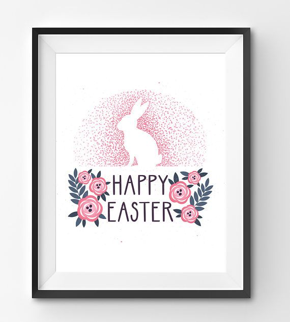Happy Easter Pink Bunny with Pink Flowers Art Print Happy