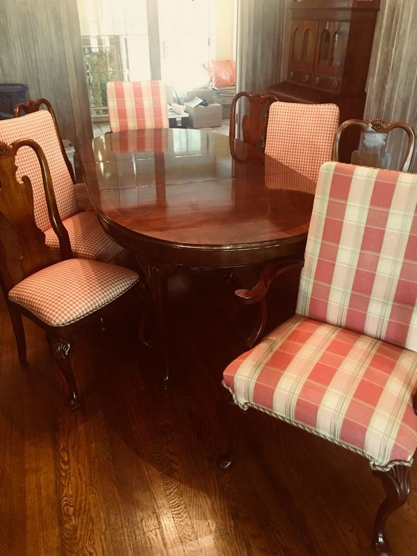 vintage dining room table with upholstered chairs leaves and covers rh pinterest com