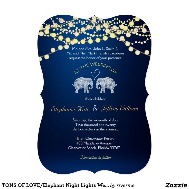 TONS OF LOVE/Elephant Night Lights Wedding Invites ♥ Repinned by Annie @ www.perfectpostage.com