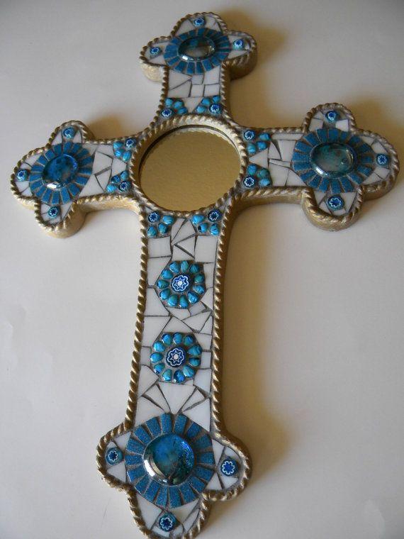Turquoise White Gold Mirror Mosaic Cross by TheMosartStudio, $60.00
