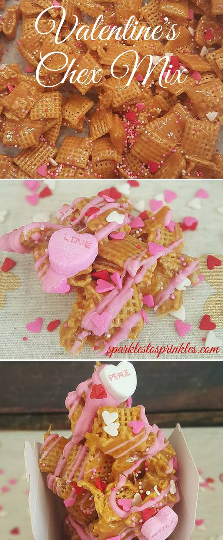 This Valentine's Chex Mix screams I LOVE you! Make a huge batch and give some to all of your LOVES. Pin for Later! #valentinesday #valentine #chexmix #snacks #easy