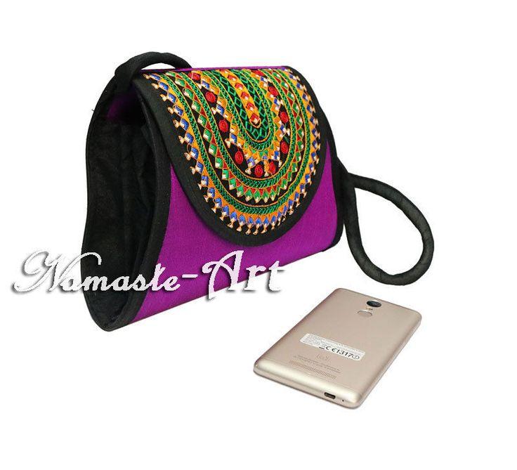 Indian Silk Beautiful Embroidery Work & Floral Design Handmade Clutch Carry Bag  #Namasteart #Clutch