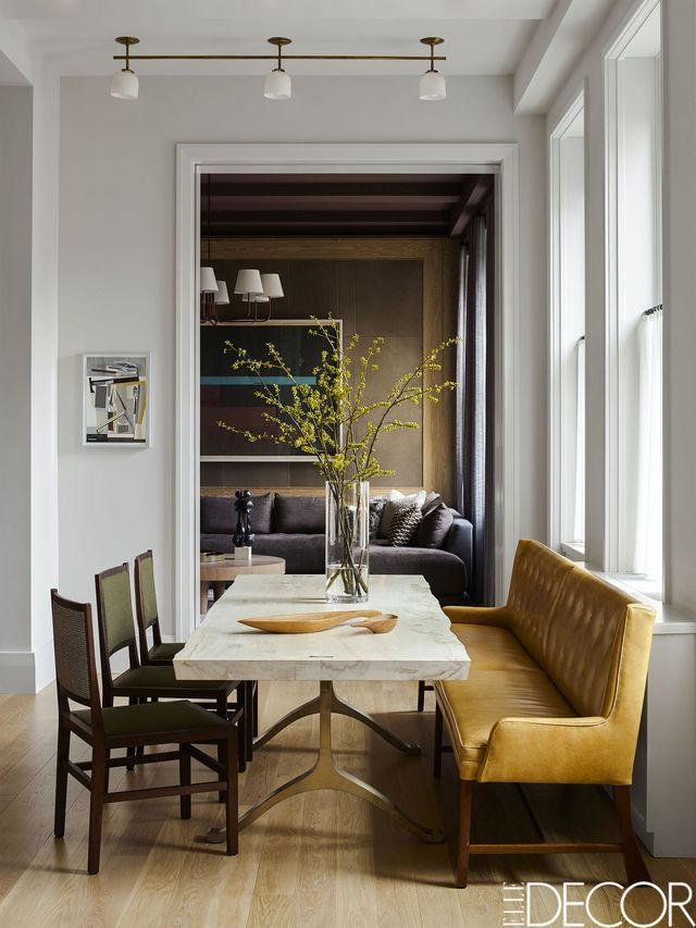 obsessed with the mustard yellow velvet bench at this dining table rh pinterest com