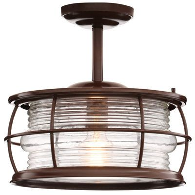 Outdoor porch light   Home Decorators Collection Harbor 1-Light Copper Outdoor Hanging Convertible Semi-Flush Mount Light HDP11970 at The Home Depot - Mobile