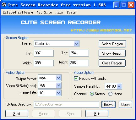 Cute Screen Recorder Free Version is a easy-to-use screen recorder software. It is able to record the action and sound from all screen activity on your computer and saves it to mp4,flv,swf and wmv video files.Record any area on your desktop, an object area, a window or full screen.
