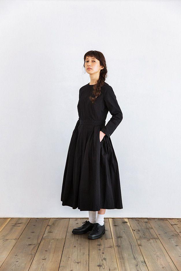 YAECA ビッグタックドレス ブラック