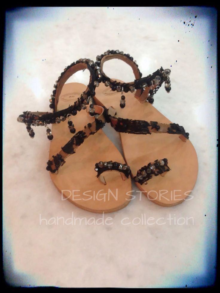 "Handmade Leather Samdals Χειροποίητα δερμάτινα σανδάλια κεντημένα με γαλλική δαντέλα, μαύρες πέρλες, κρύσταλλα Swarovski και ασημί χάντρες ""black crystal queen"" #designstoriesbyelenipetraki #sandalcollection2015"