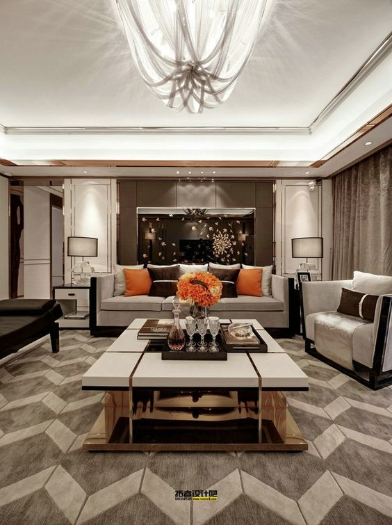 Lux Living Room Neutral tones and orange accents