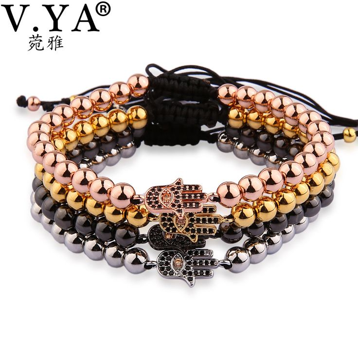 V YA  Fashion Palm Bracelet Men Rhinestone Watch Bracelet for Man Hamsa Fatima Hand Evil Charm Eyes Bead Bracelet Micro Pave