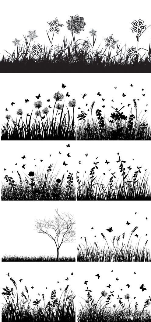 Plants and flowers silhouettes vector material