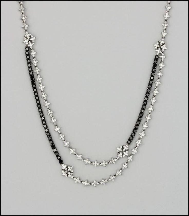Ref. 2U Gargantilla con diamantes incoloros y negros. (pieza única)