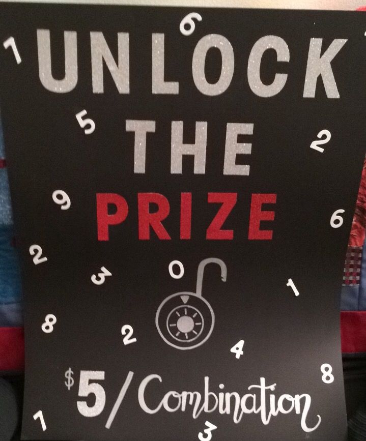 Unlock the prize game sign for Stag & Doe Guests buy a combination with the hopes that theirs will be the one to unlock the prize