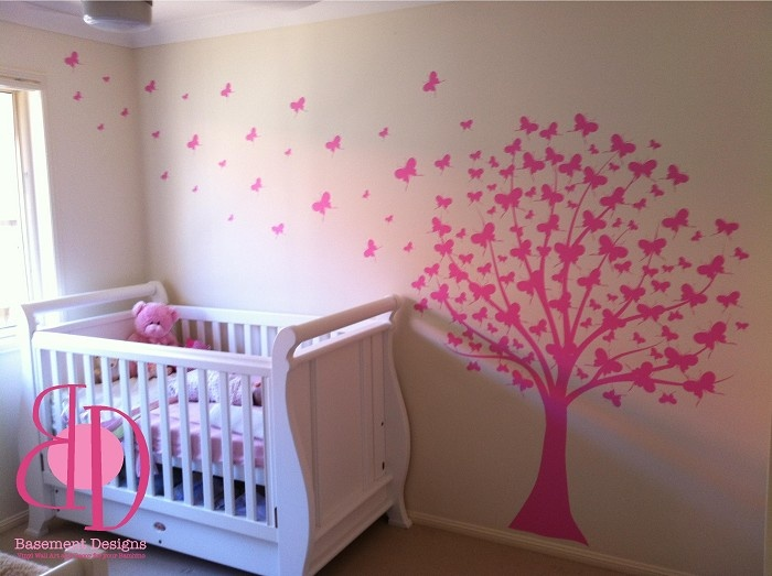 Butterfly tree wall decal to go near the cot