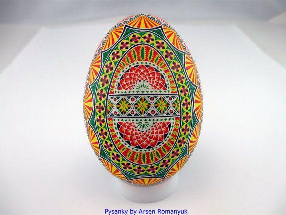 Real Ukrainian Pysanka goose egg shell Pysanky. by tetyanakonoval