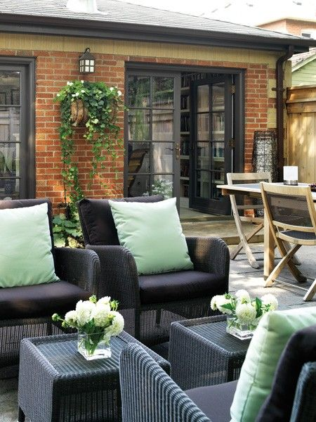 Contemporary Wicker Outdoor Funiture | photo Donna Griffith | House & Home: Black Doors, French Doors, Outdoor Living Spaces, Patio, House, Backyard, Outdoor Spaces, Modern Outdoor Living