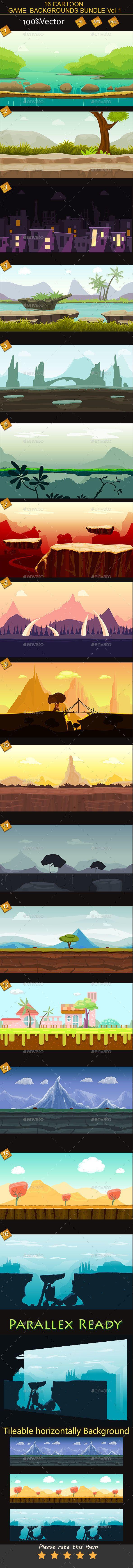 16 cartoon Game Backgrounds Bundle Volume-1 (Backgrounds)