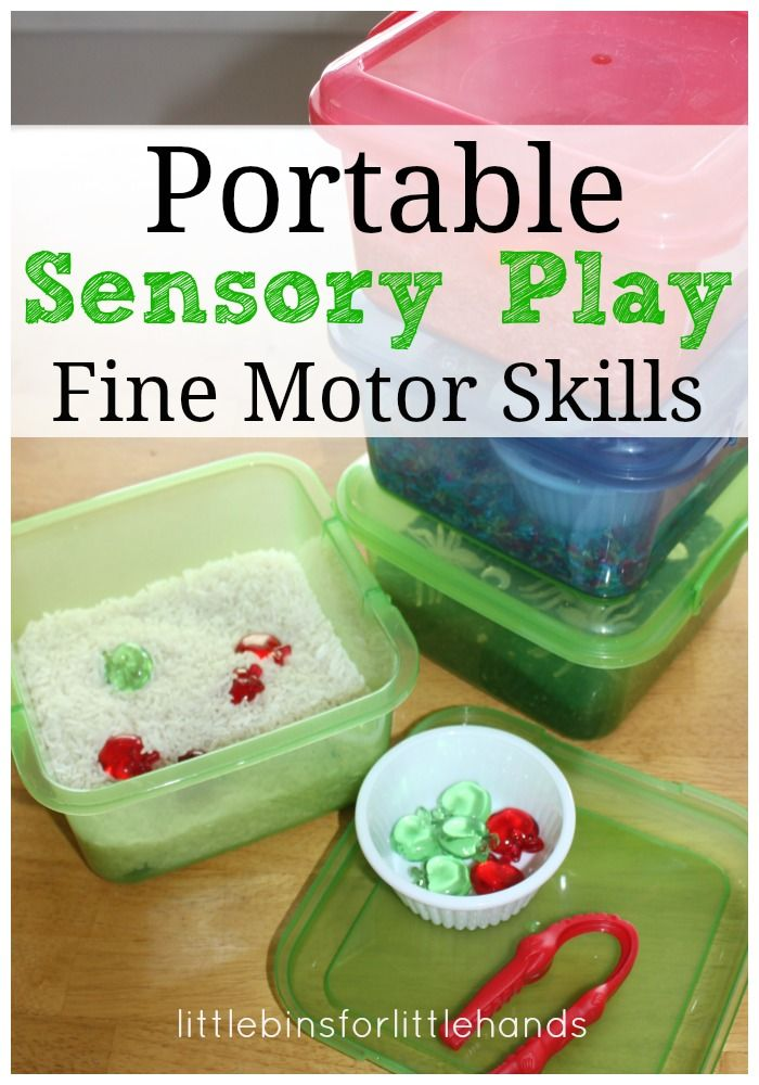Portable mini sensory bins for fine motor skills activities.  So small and easy to store!