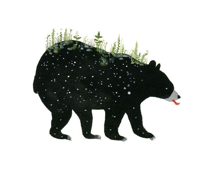 Spring Bear - 8 x 10 inch Giclee Print. $30.00, via Etsy.: Artists Diana, Illustrations Art, Black Bears, Album Artworks, 14 Inch, Spring Bears, Inkjet Prints, Rocks Posters, Diana Sudyka