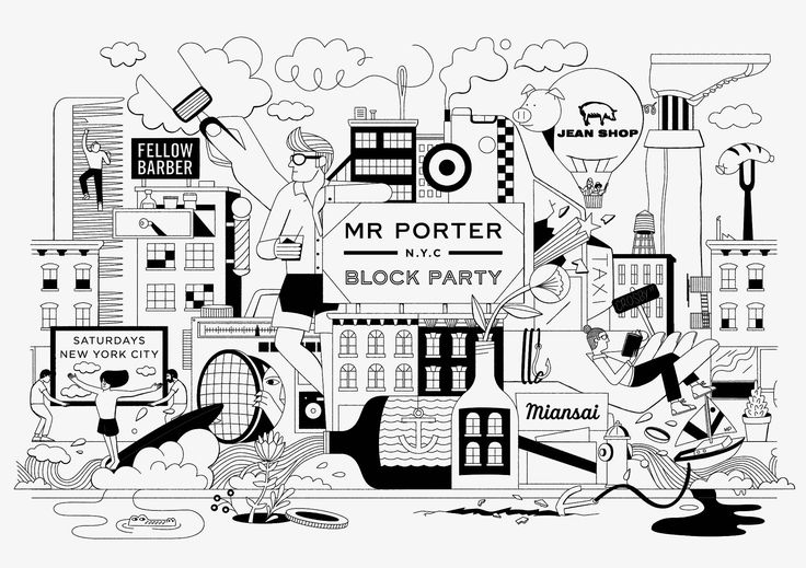 Poster and collateral materials for the MR PORTER Block Party in NYC.