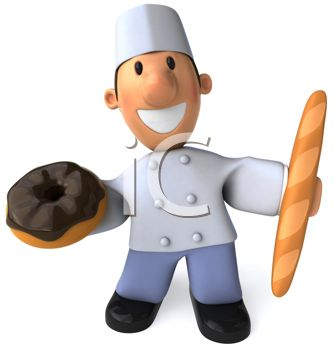 iCLIPART - Royalty Free Clip Art Image of a Baker With a Doughnut and Bread Stick