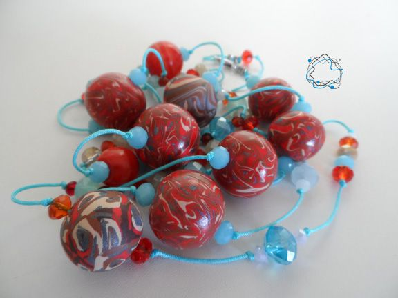 Necklaces : Cyan & Red Necklace