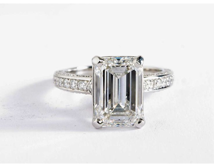 4 Carat Emerald Diamond in the Blue Nile Studio Imperial Micropavé Diamond Engagement Ring | Blue Nile Engagement Rings