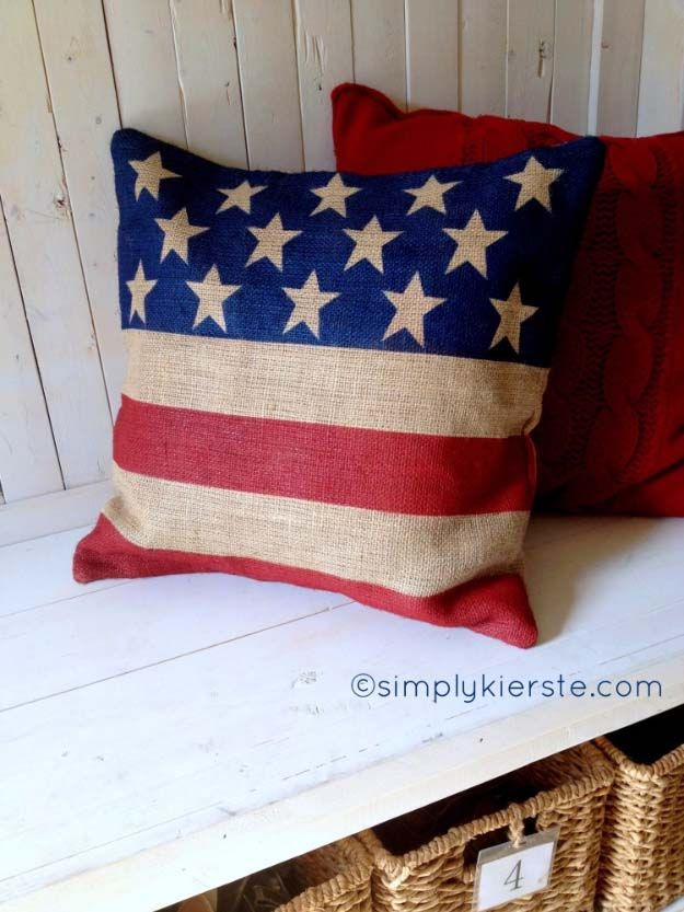Rustic DIY Ideas With the American Flag | Patriotic Flag Country Crafts and  DIY Projects for the Home and Backyard | Flag on Burlap DIY Pillow | http://diyjoy.com/diy-projects-decor-american-flag