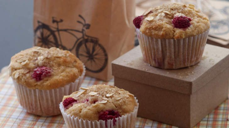 Muffins are easy an easy treat to prepare ahead for a school lunchbox or afternoon snack. Try these pear and raspberry muffins.