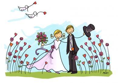 Bruidspaar in bloemenveld trouwkaart van Anet versturen bij Kaartwereld: 20% korting bij het maken van een gratis account.