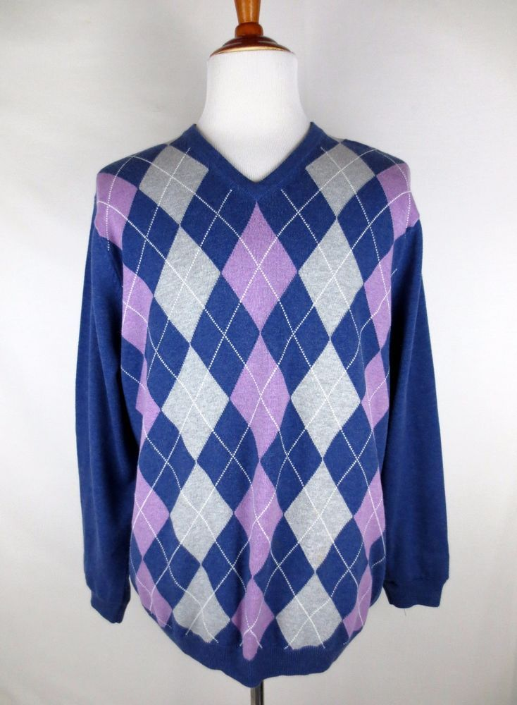 BULLOCK & JONES Mens XL Cotton Cashmere Argyle Sweater Blue Lilac V-Neck #BullockJones #VNeck