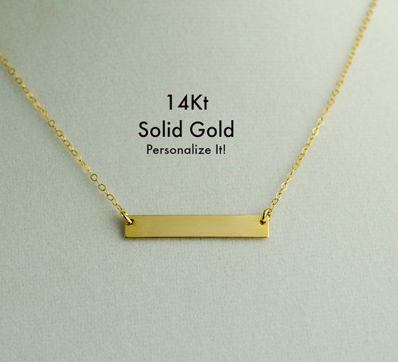 CHRISTMAS DELIVERY 14K Gold Bar Necklace Real Gold by LittleSAS