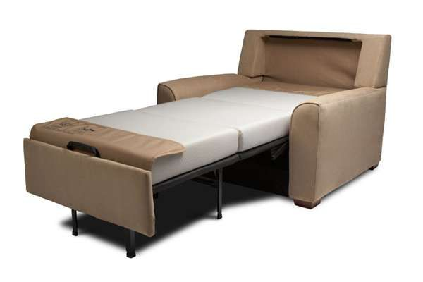 Brown twin sleeper chair bed ikea. The mattress looks more comfy.