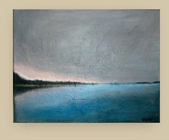 Original acrylic painting Ocean Horizon  Seascape by VESNAsART, $85.00