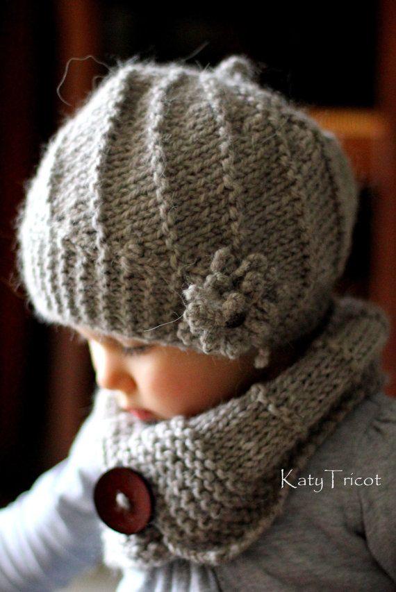 Muster stricken Beret und Kragen Cool Wool Größen: von KatyTricot