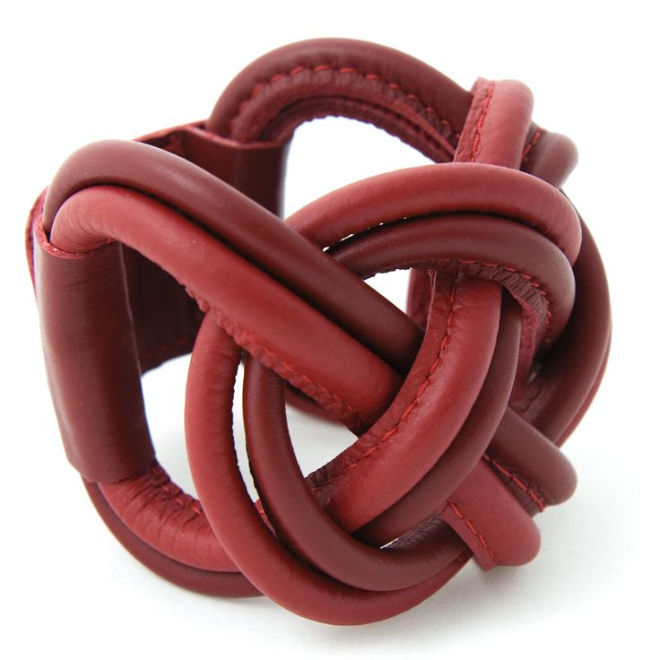 red leather Naval Knot bracelet www.issamadeby.nl