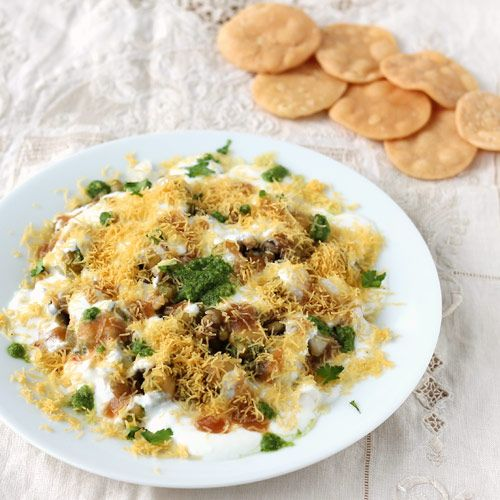 Papdi Chaat - Popular Indian Street Food Snack - Crispy Papadis Topped with Potato, Chutneys, Curd and Sev - Perfect to Serve as a Snack or Starter in the Party - Step by Step Recipe