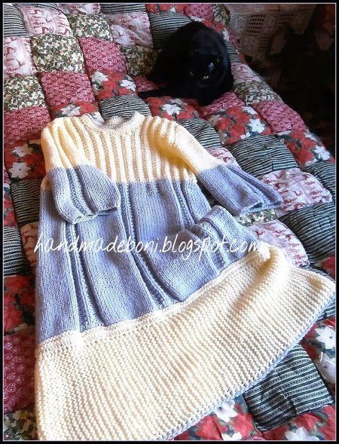 HandmadeBoni: Szaro-żółta sukienka na drutach.