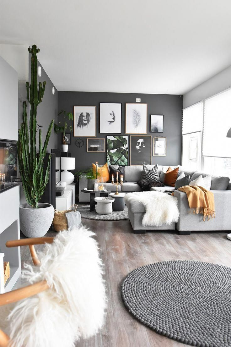 Grey And Mustard Living Room Wanddekowohnzimmer Grey And Mustard Living Room T In 2020 College Apartment Decor Apartment Decorating On A Budget Tumblr Room Decor
