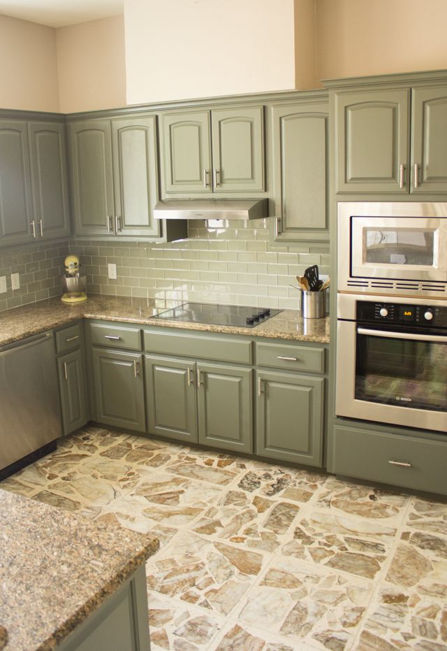 Our exciting kitchen makeover before and after cabinets for Grey green kitchen cabinets