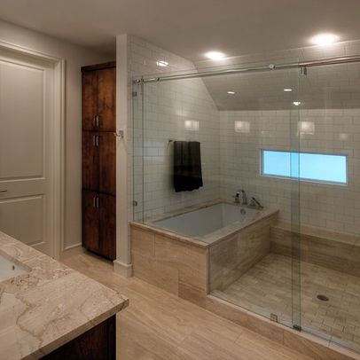 Tub in shower, love it! We could totally do this!