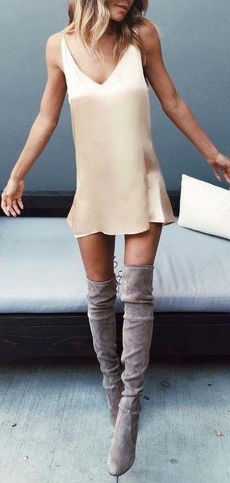#summer #outfits / beige dress + boots