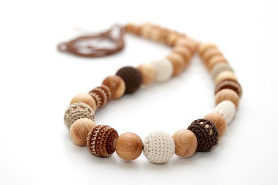 Cappuccino beads - Teething nursing necklace in juniper wood, brown, cream, beige. Valentines Gift on Etsy, $39.00