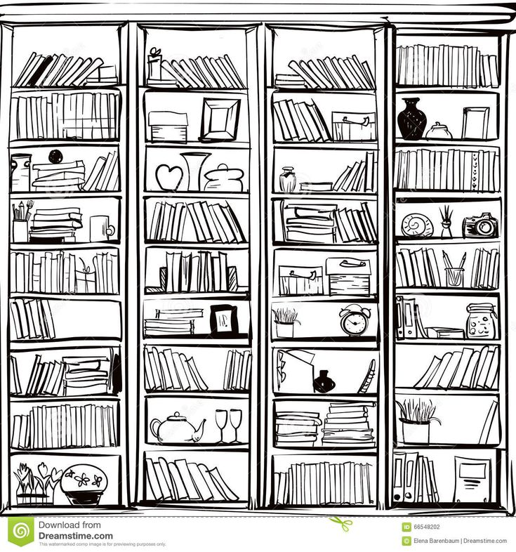 Vector Of Library Book Shelf Doodle Background Bullet