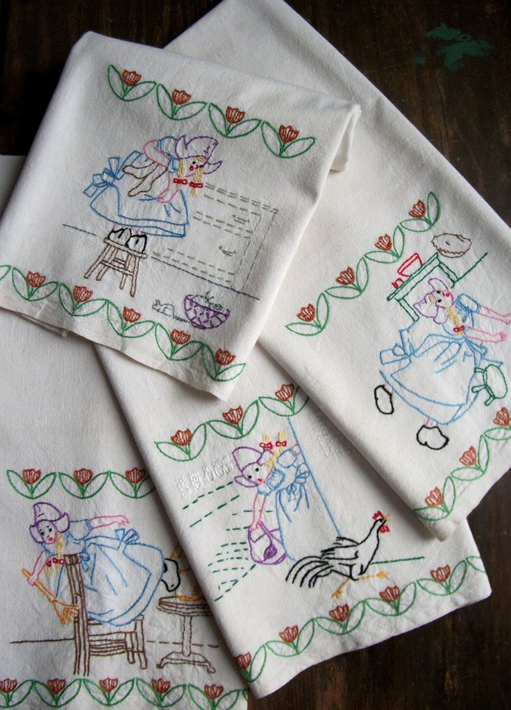 162 Best Images About Vintage Embroidered Dish Towels On Pinterest Dog Dishes Kitchen Towels