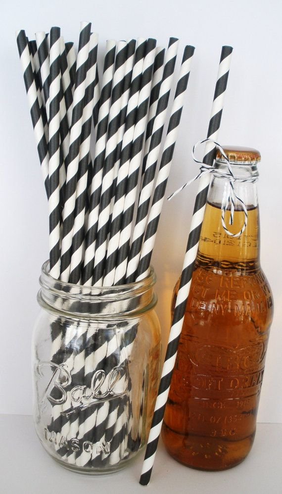 25 Extra Long BLACK & WHITE Stripe Paper Straws by DimeStoreBuddy, $4.50