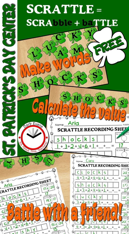 St. Patrick's Day freebie!  #makingwords #literacycenter #mathcenter #computation #differentiation #march #stpatricksday