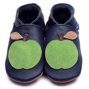 Apple Navy/Green Inch Blue Shoes - Soft Handmade Leather Baby Shoes